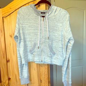 Crop zip front hoodie